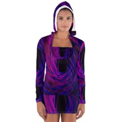 Black Hole Rainbow Blue Purple Long Sleeve Hooded T Shirt