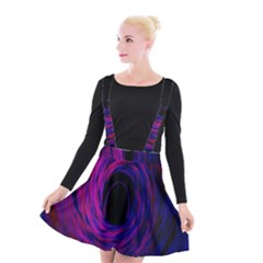 Black Hole Rainbow Blue Purple Suspender Skater Skirt
