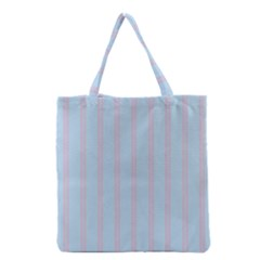Bleu Pink Line Vertical Grocery Tote Bag by Mariart
