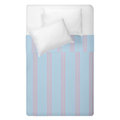 Bleu Pink Line Vertical Duvet Cover Double Side (single Size) by Mariart