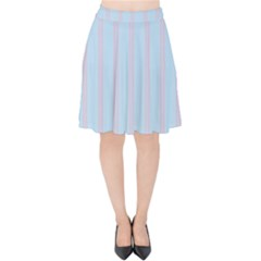 Bleu Pink Line Vertical Velvet High Waist Skirt by Mariart