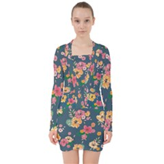 Aloha Hawaii Flower Floral Sexy V Neck Bodycon Long Sleeve Dress by Mariart