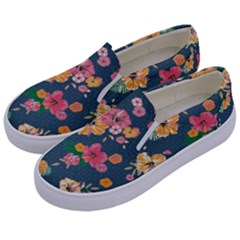 Aloha Hawaii Flower Floral Sexy Kids  Canvas Slip Ons by Mariart