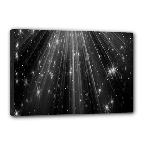 Black Rays Light Stars Space Canvas 18  X 12  by Mariart