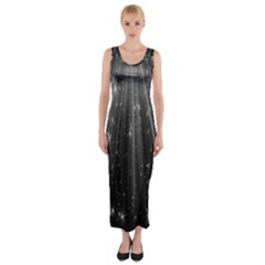 Black Rays Light Stars Space Fitted Maxi Dress