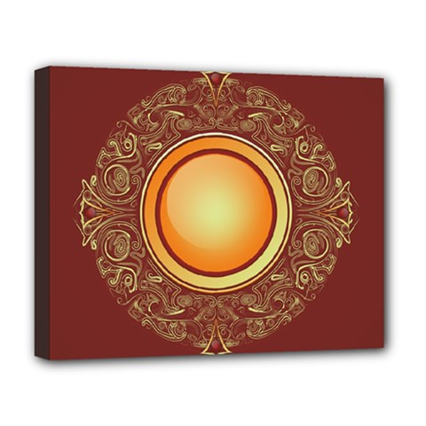 Badge Gilding Sun Red Oriental Deluxe Canvas 20  X 16   by Nexatart