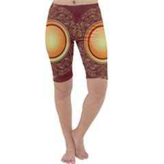 Badge Gilding Sun Red Oriental Cropped Leggings  by Nexatart