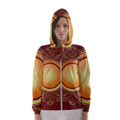 Badge Gilding Sun Red Oriental Hooded Wind Breaker (women)