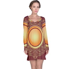 Badge Gilding Sun Red Oriental Long Sleeve Nightdress by Nexatart