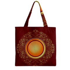 Badge Gilding Sun Red Oriental Zipper Grocery Tote Bag
