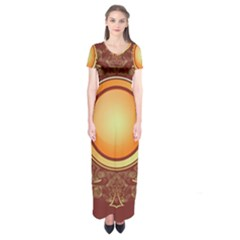 Badge Gilding Sun Red Oriental Short Sleeve Maxi Dress by Nexatart