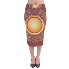 Badge Gilding Sun Red Oriental Velvet Midi Pencil Skirt by Nexatart