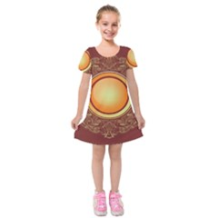 Badge Gilding Sun Red Oriental Kids  Short Sleeve Velvet Dress by Nexatart