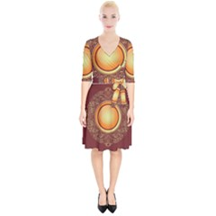 Badge Gilding Sun Red Oriental Wrap Up Cocktail Dress