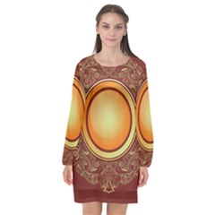 Badge Gilding Sun Red Oriental Long Sleeve Chiffon Shift Dress  by Nexatart