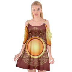 Badge Gilding Sun Red Oriental Cutout Spaghetti Strap Chiffon Dress by Nexatart