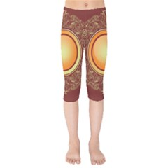 Badge Gilding Sun Red Oriental Kids  Capri Leggings