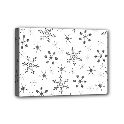 Black Holiday Snowflakes Mini Canvas 7  X 5  by Mariart