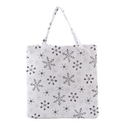 Black Holiday Snowflakes Grocery Tote Bag by Mariart