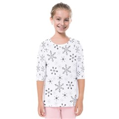 Black Holiday Snowflakes Kids  Quarter Sleeve Raglan Tee