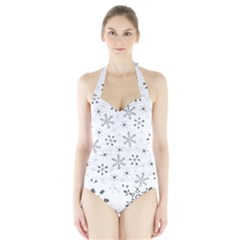 Black Holiday Snowflakes Halter Swimsuit by Mariart