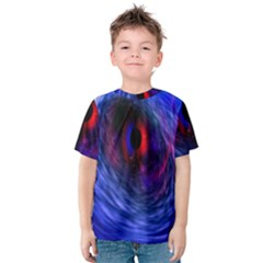 Blue Red Eye Space Hole Galaxy Kids  Cotton Tee by Mariart