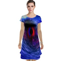 Blue Red Eye Space Hole Galaxy Cap Sleeve Nightdress