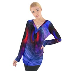 Blue Red Eye Space Hole Galaxy Tie Up Tee by Mariart