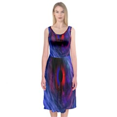 Blue Red Eye Space Hole Galaxy Midi Sleeveless Dress by Mariart