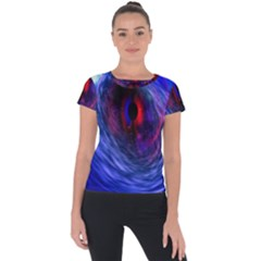 Blue Red Eye Space Hole Galaxy Short Sleeve Sports Top  by Mariart