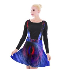 Blue Red Eye Space Hole Galaxy Suspender Skater Skirt by Mariart