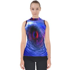Blue Red Eye Space Hole Galaxy Shell Top by Mariart