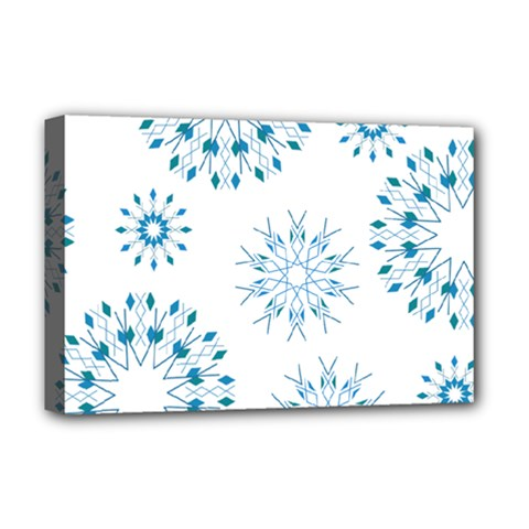 Blue Winter Snowflakes Star Triangle Deluxe Canvas 18  X 12   by Mariart