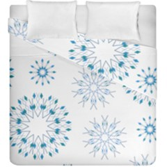 Blue Winter Snowflakes Star Triangle Duvet Cover Double Side (king Size) by Mariart