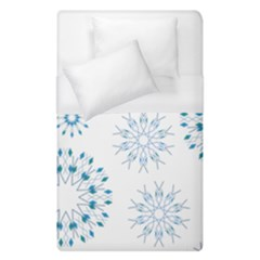 Blue Winter Snowflakes Star Triangle Duvet Cover (single Size) by Mariart