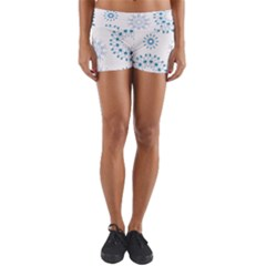 Blue Winter Snowflakes Star Triangle Yoga Shorts by Mariart