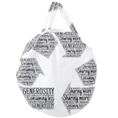 Recycling Generosity Consumption Giant Round Zipper Tote