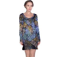 Multi Color Tile Twirl Octagon Long Sleeve Nightdress
