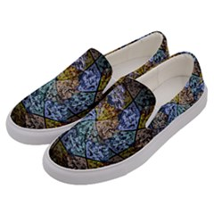 Multi Color Tile Twirl Octagon Men s Canvas Slip Ons by Nexatart