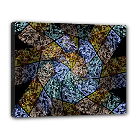 Multi Color Tile Twirl Octagon Canvas 14  X 11  by Nexatart
