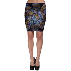 Multi Color Tile Twirl Octagon Bodycon Skirt