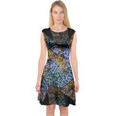 Multi Color Tile Twirl Octagon Capsleeve Midi Dress
