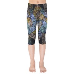 Multi Color Tile Twirl Octagon Kids  Capri Leggings  by Nexatart