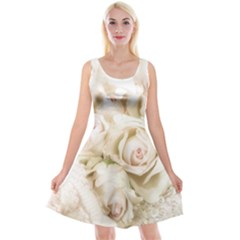 Pastel Roses Antique Vintage Reversible Velvet Sleeveless Dress by Nexatart