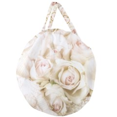 Pastel Roses Antique Vintage Giant Round Zipper Tote