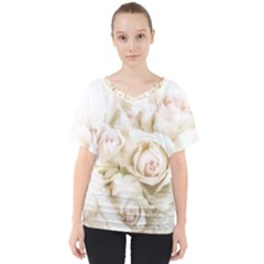 Pastel Roses Antique Vintage V-neck Dolman Drape Top by Nexatart