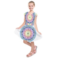 Mandala Universe Energy Om Kids  Short Sleeve Dress by Nexatart