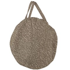 Leather Texture Brown Background Giant Round Zipper Tote