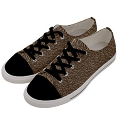 Leather Texture Brown Background Men s Low Top Canvas Sneakers by Nexatart