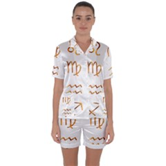 Signs Of The Zodiac Zodiac Aries Satin Short Sleeve Pyjamas Set by Nexatart